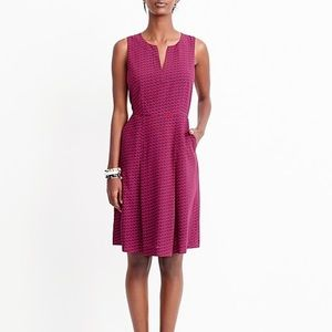 J. Crew red blue split neck cherries dress 16